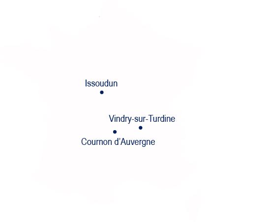 Localisation des sites TRA-C industrie